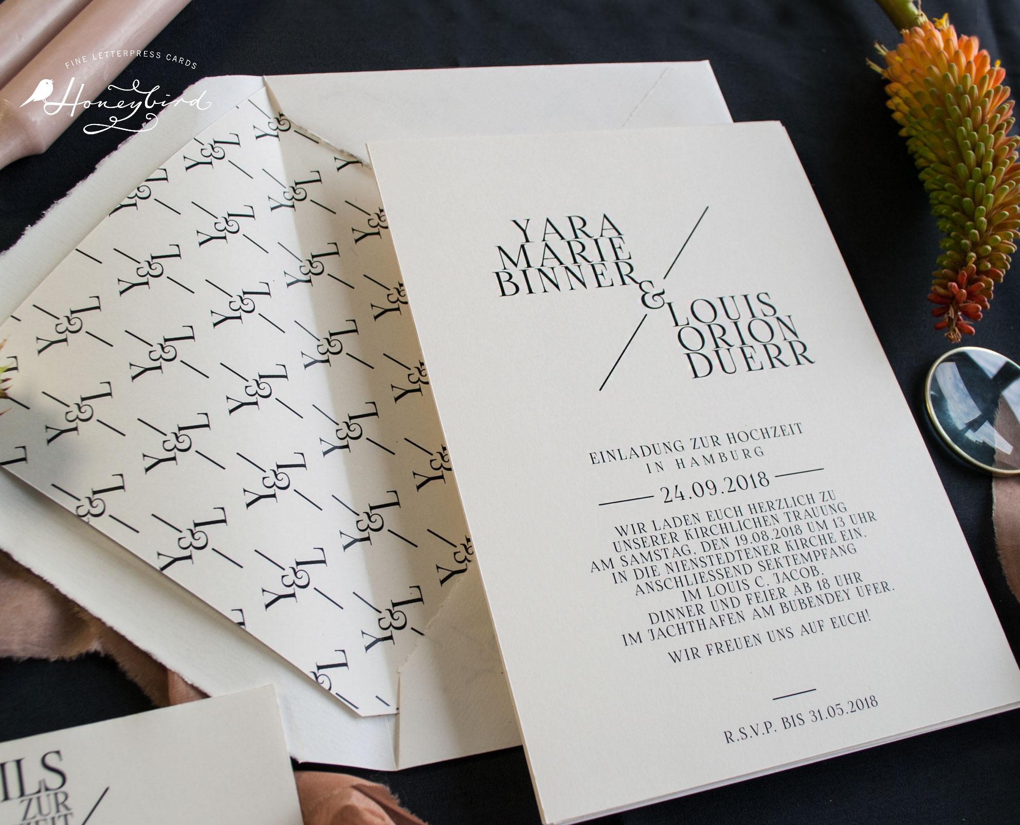 einladungskarten Chelsea elegant zur Hochzeit mit Monogramm Muster des Hochzeitslogos