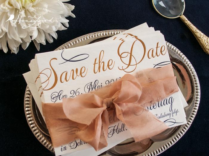 Save the Date Karte Letterpress Gold Heissfolie