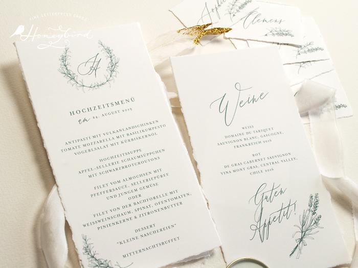 Einladung mit Büttenrand Menükarten und Weinkarte