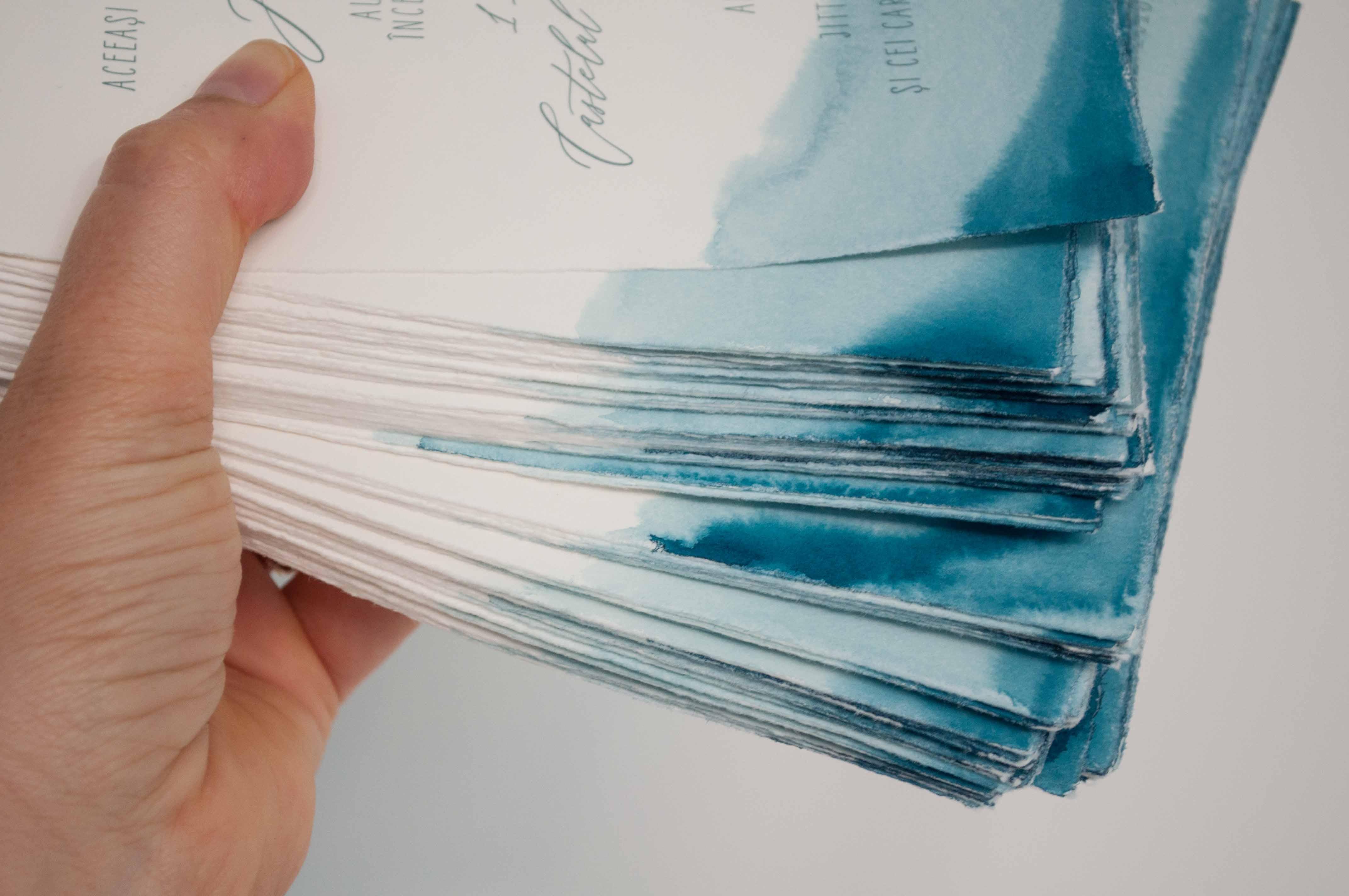 Beyond the Sea, handbemalte Letterpress drucke auf Büttenpapier, jede Karte ein Unikat.