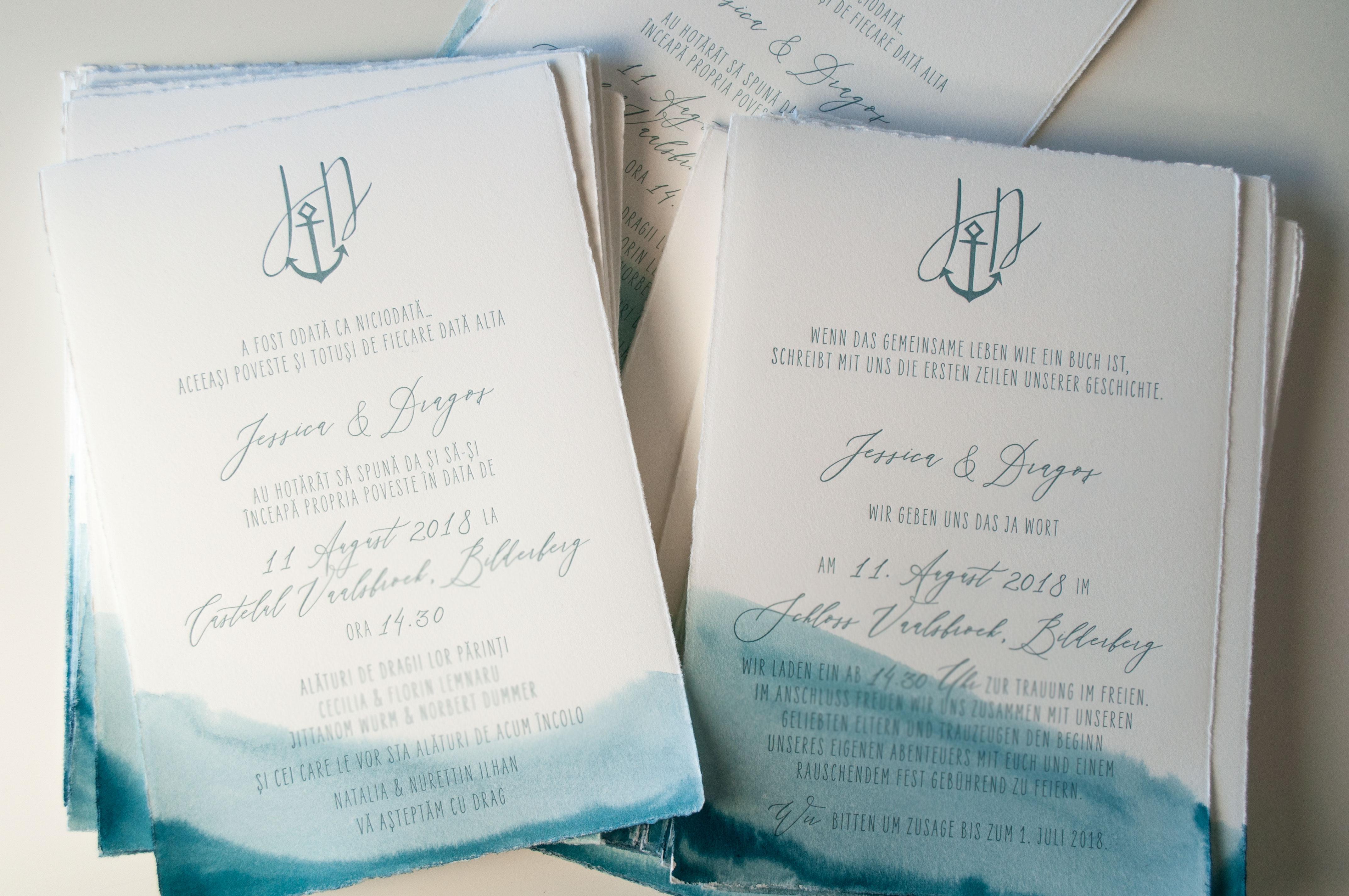 Beyond the Sea Einladung mit Anker und Monogramm, handbemalt mit Aquarell, einzigartige Hochzeitseinladung