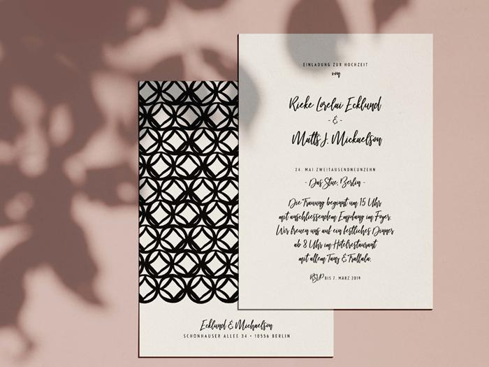 Einladungskarte Monterey im contemporary Design mit moderner Schrift und impressive Pattern
