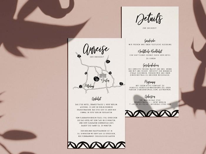 Hochzeitsdetails und Anfahrtsskizze von Honeybird.de im Design Monterey