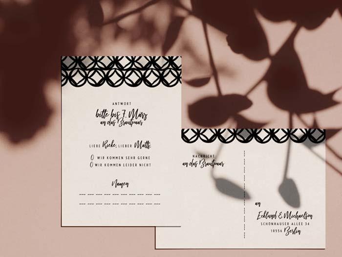 Hochzeit Antwortkarte im Design Monterey von Honeybird.de aus Hamburg.