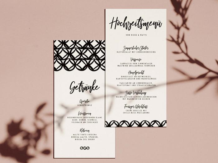 Hochzeitsdinner mit Menü und Weinkarte von Honeybird.de aus Hamburg