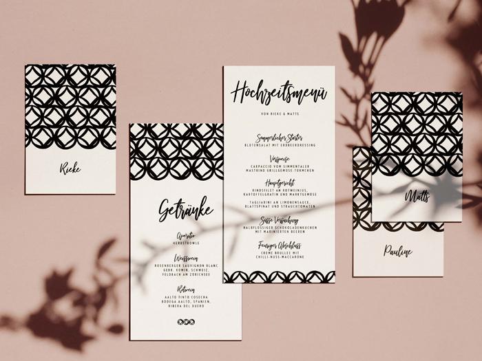 Menü und Getränkekarte mit Tischkarten von Honeybird.de aus Hamburg im Design Monterey