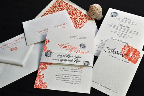 Hochzeitspapeterie Letterpress Einladungsset