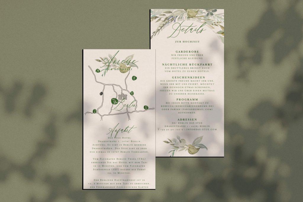 Details und Anreise für grüne Hochzeitspapeterie Botanical
