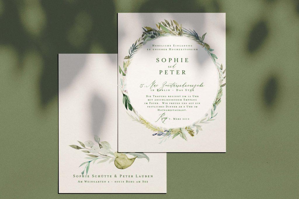 Hochzeitskarten mit Blätterkranz mit Eukalyptus und blau grau Farben einfach edle Hochzeitpapeterie.
