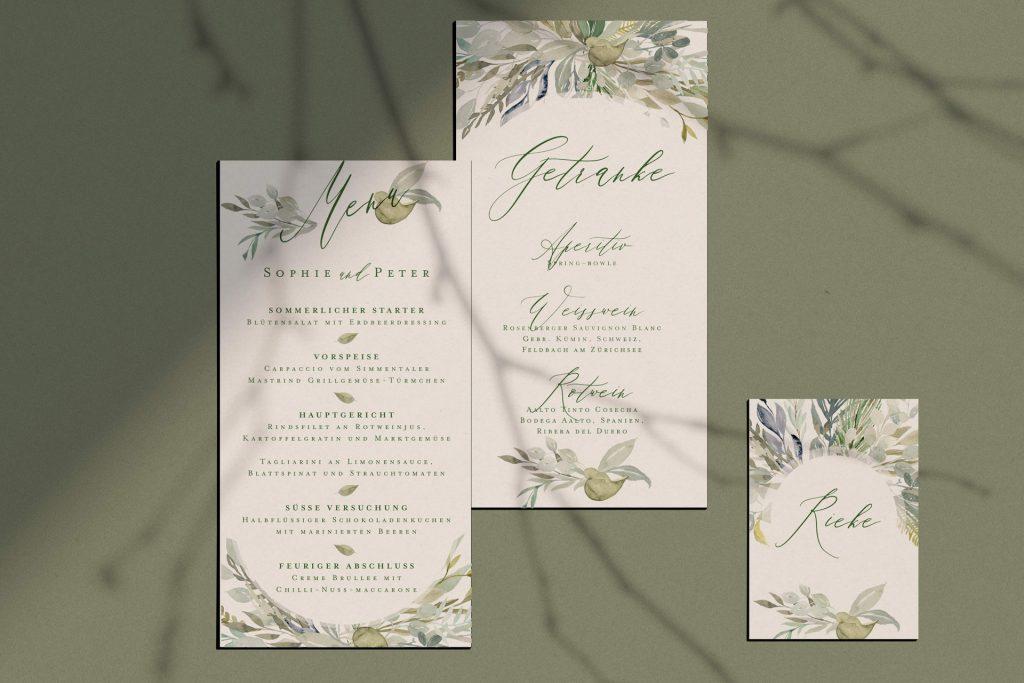 Menü und Getränkekarten im Design Botanical, green wedding, grüne Hochzeitspapeterie.