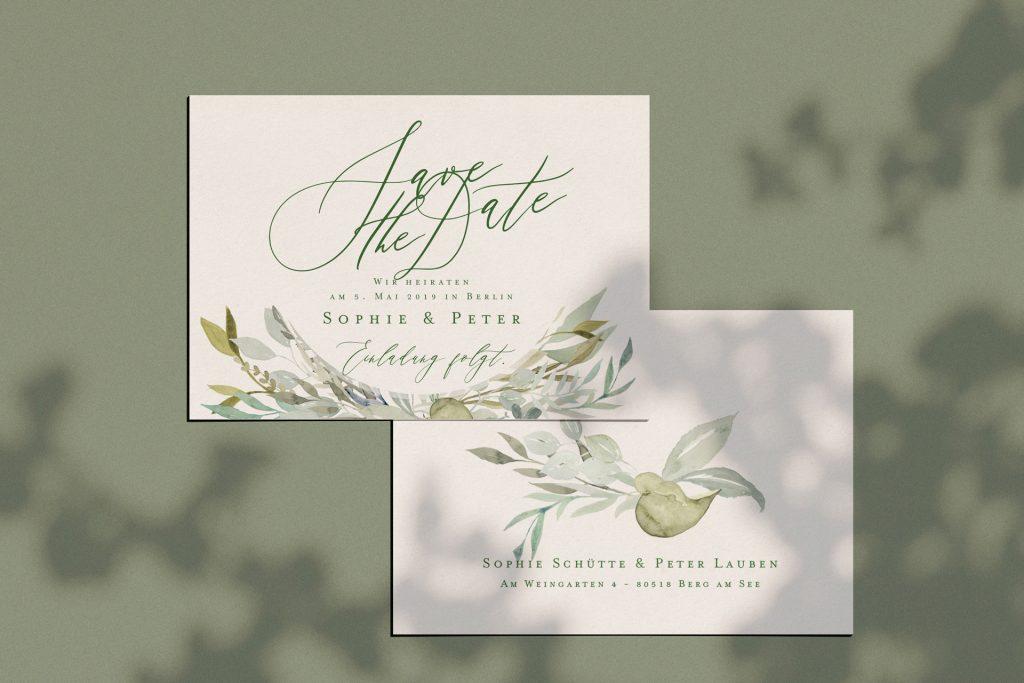 Save the Date Karten mit Blätterkranz mit Eukalyptus und blau grau Farben einfach edle grüne Hochzeitpapeterie.