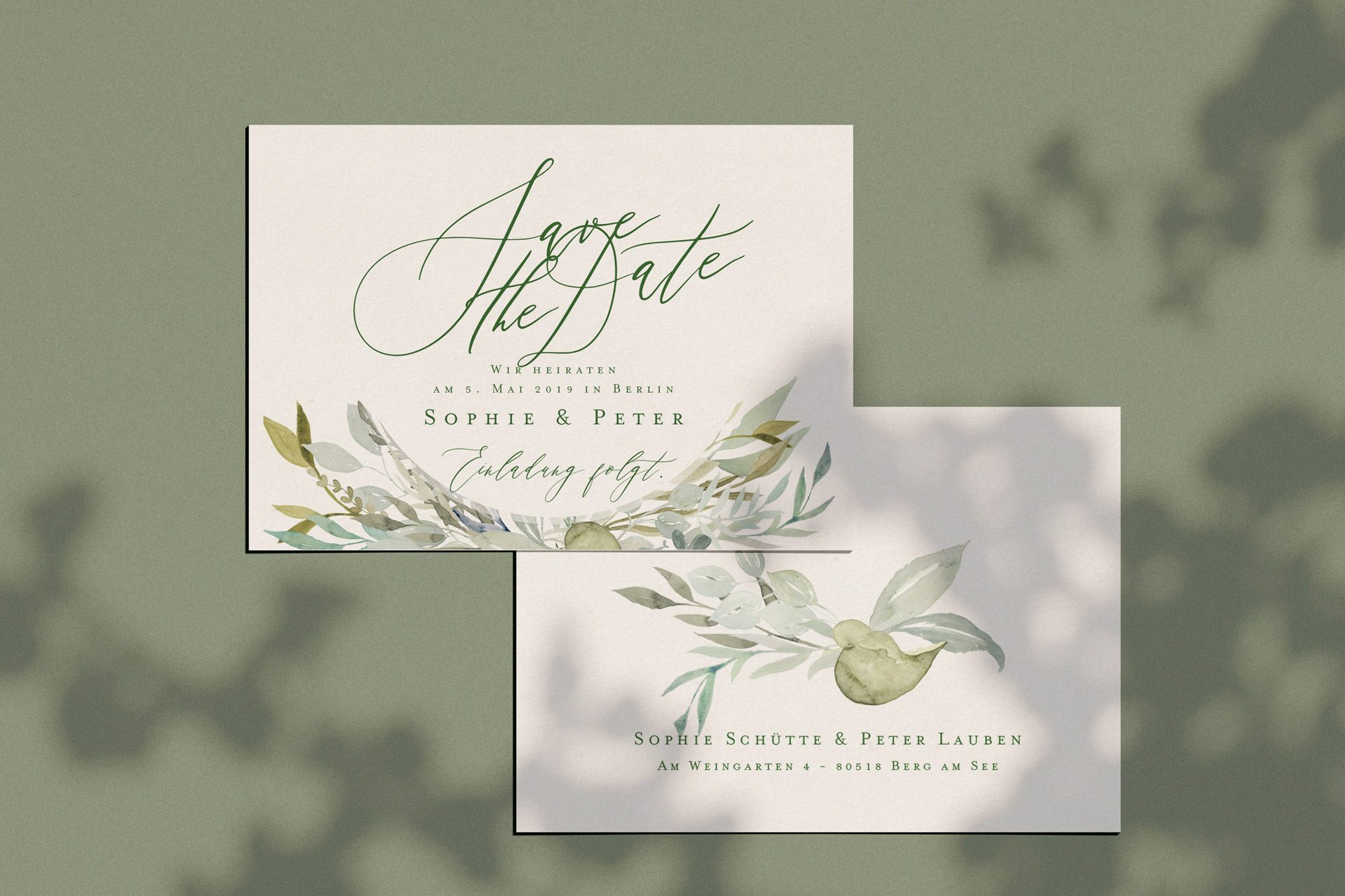 Save the Date Karte der Linie Botanical mit viel Grün und Greenery für Ihr Hochzeit.