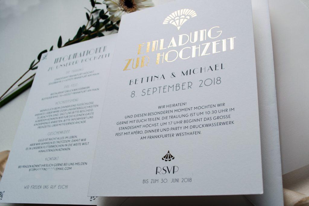 """Hochzeitseinladung im Stil der """"roaring """"20ties"""" - im Gatsby Style von Honeybird."""