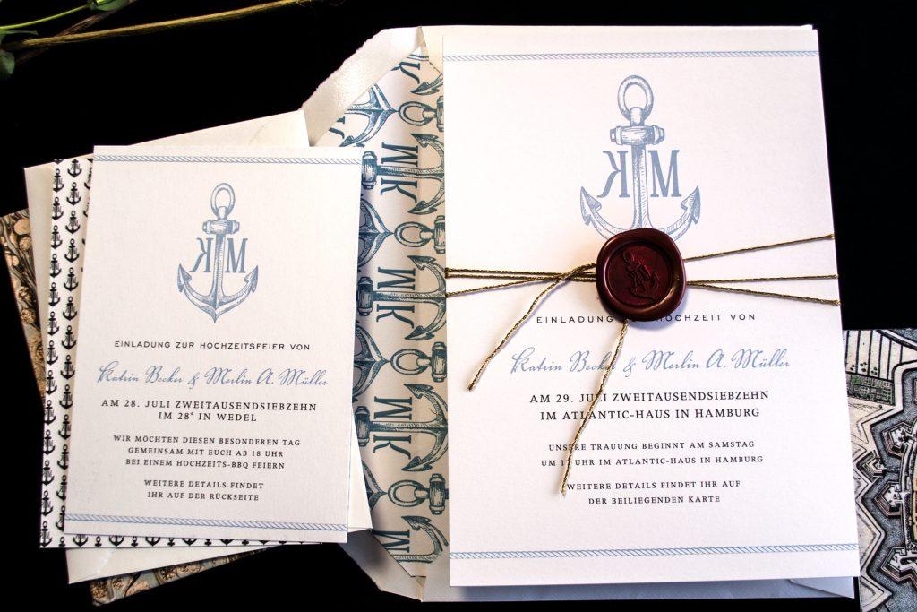 Einladung zur Hochzeit und Party mit Anker Hochzeitskarten und Wachssiegel.