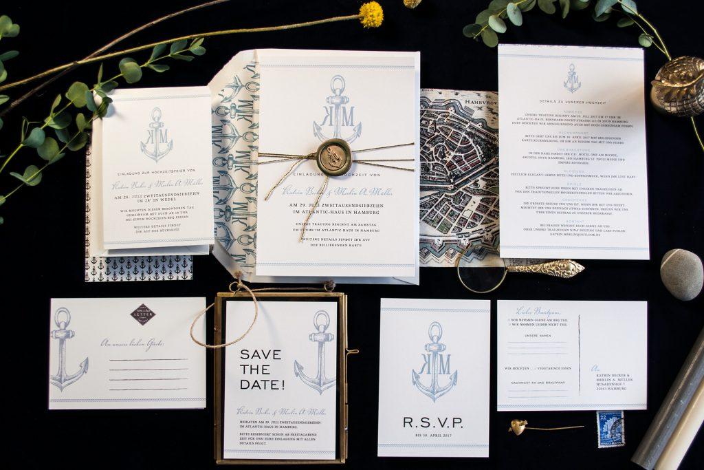 Hochzeitskarten mit Anker und Siegel.