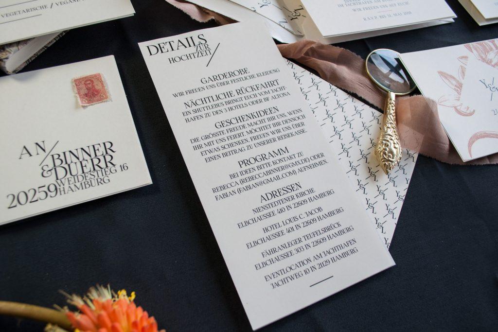 Chelsea Hochzeitskarten Infokarte Details zur Hochzeit von Honeybird