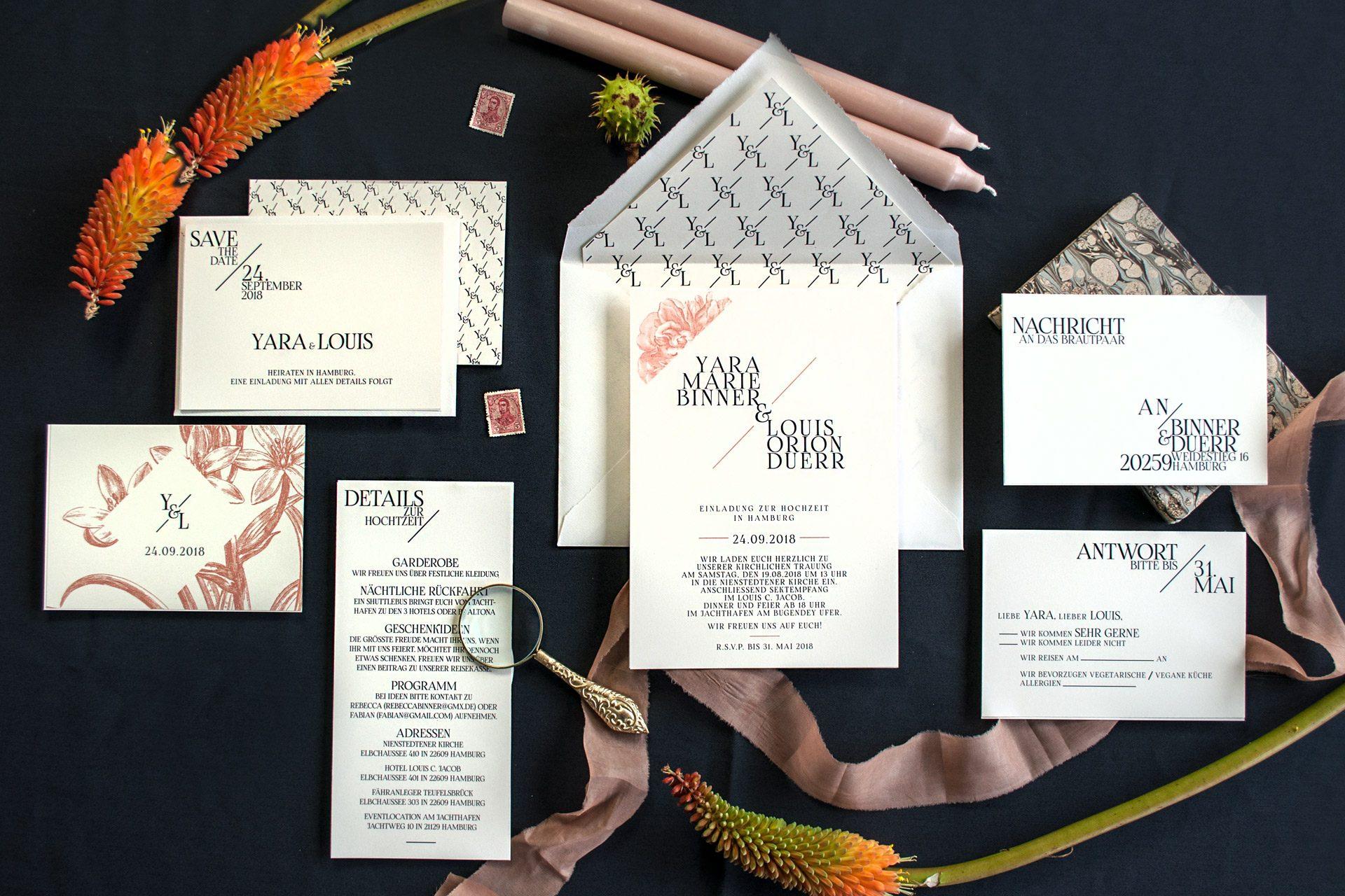 Hochzeitspapeterie im Set mit monogramm - Muster und Hochzeitslogo mit Blüten in rose.