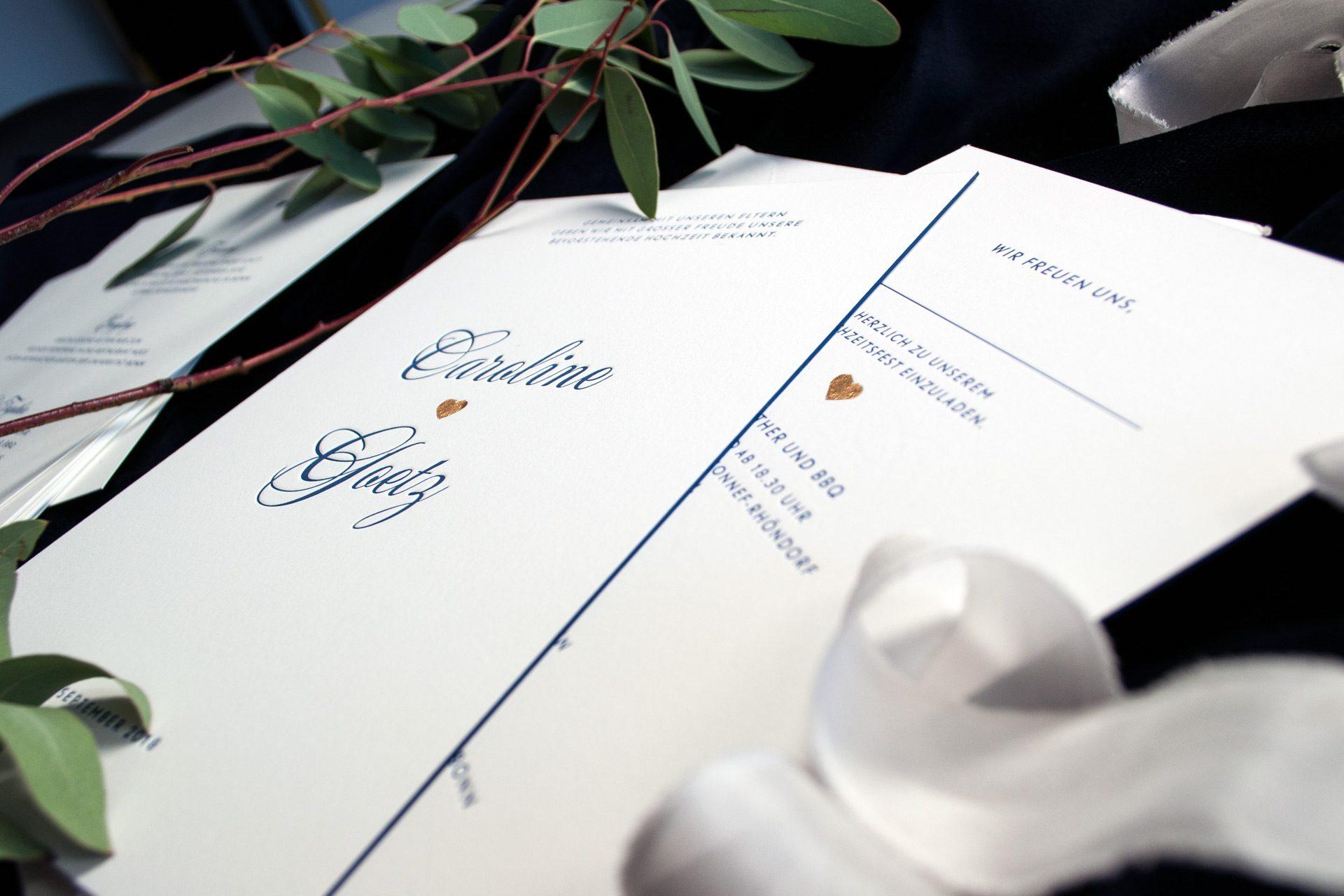 Farbschnitt für Hochzeitskarten der Designlinie Park Avenue