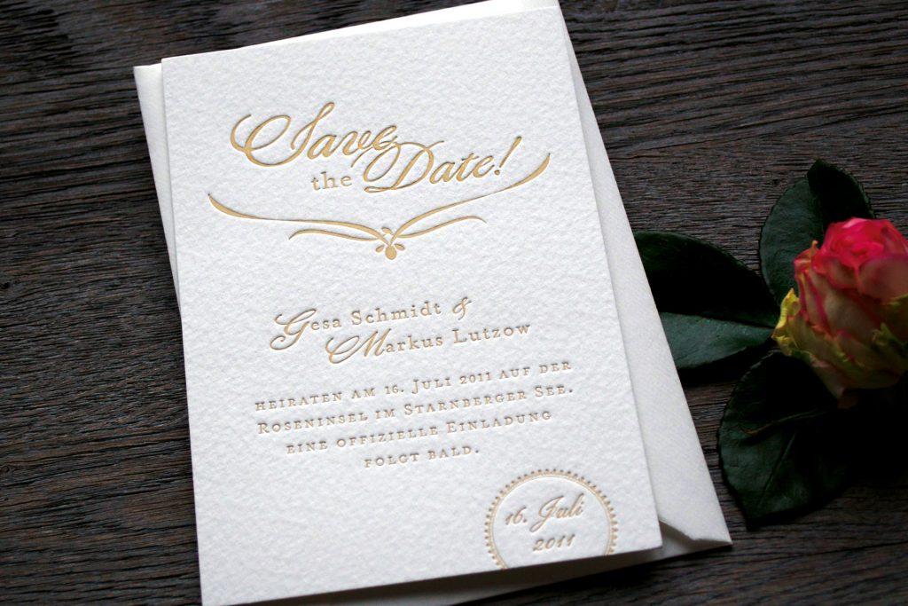 Save the Date-Karte zur Papeterie Kensington Hochzeitskarten Letterpress