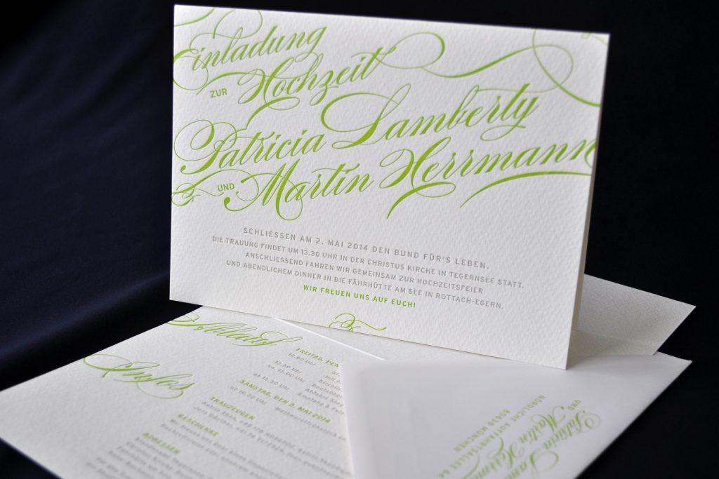 Loveletter Hochzeitseinladungen im Letterpress mit eindrucksvoller Kalligraphie