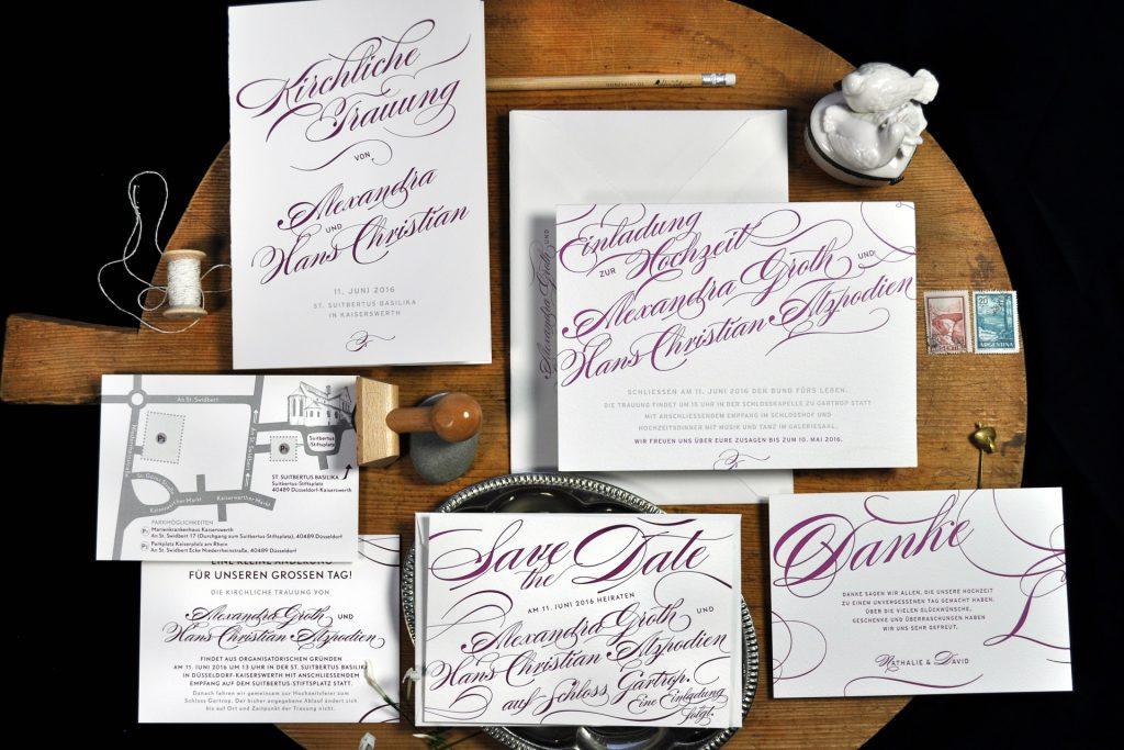 Calligraphie Einladungspapeterie von HONEYBIRD im letterpress, Save the Date Karten, Dankeskarten, Kirchenprogramm
