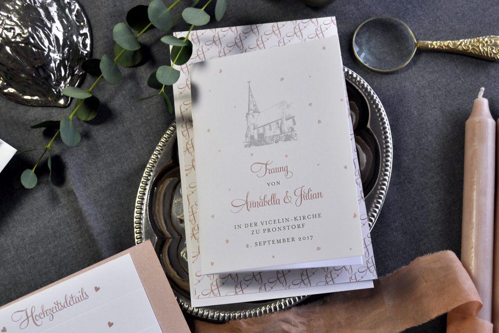Hochzeitskirchenprogramm als kleines Booklet mit Kirchenillustration