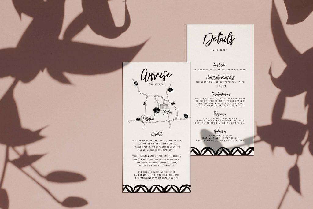 Moderne Hochzeitskarten mit Details und Anfahrtsskizze für Ihre Hochzeit.
