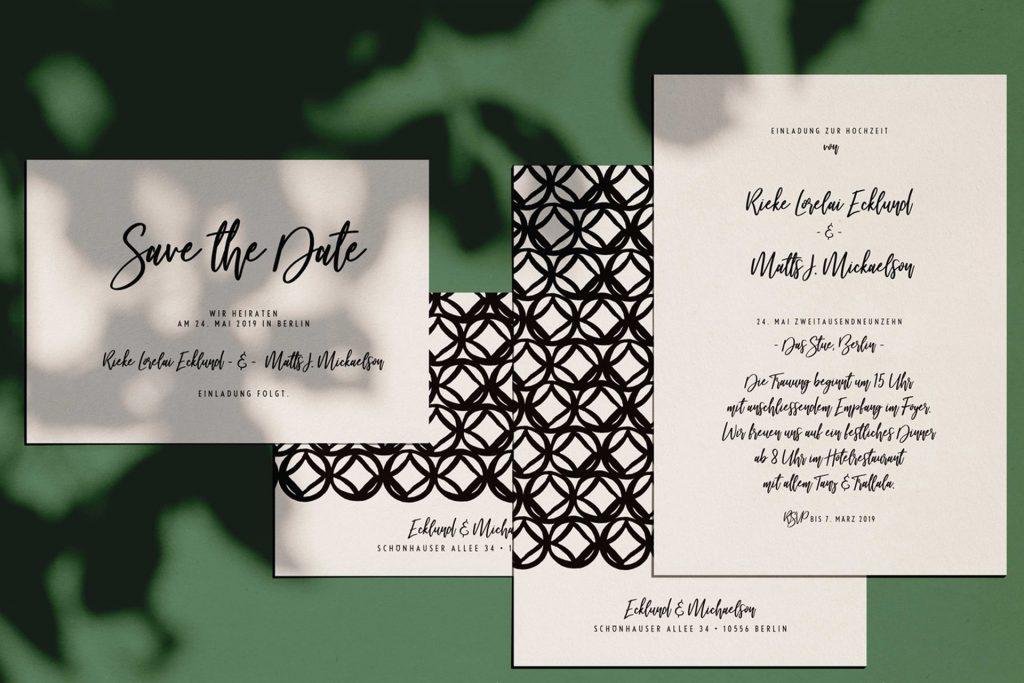 Moderne Hochzeitskarten im Design Monterey - zeitgenössisches Design im Stil der Westküste Kaliforniens.