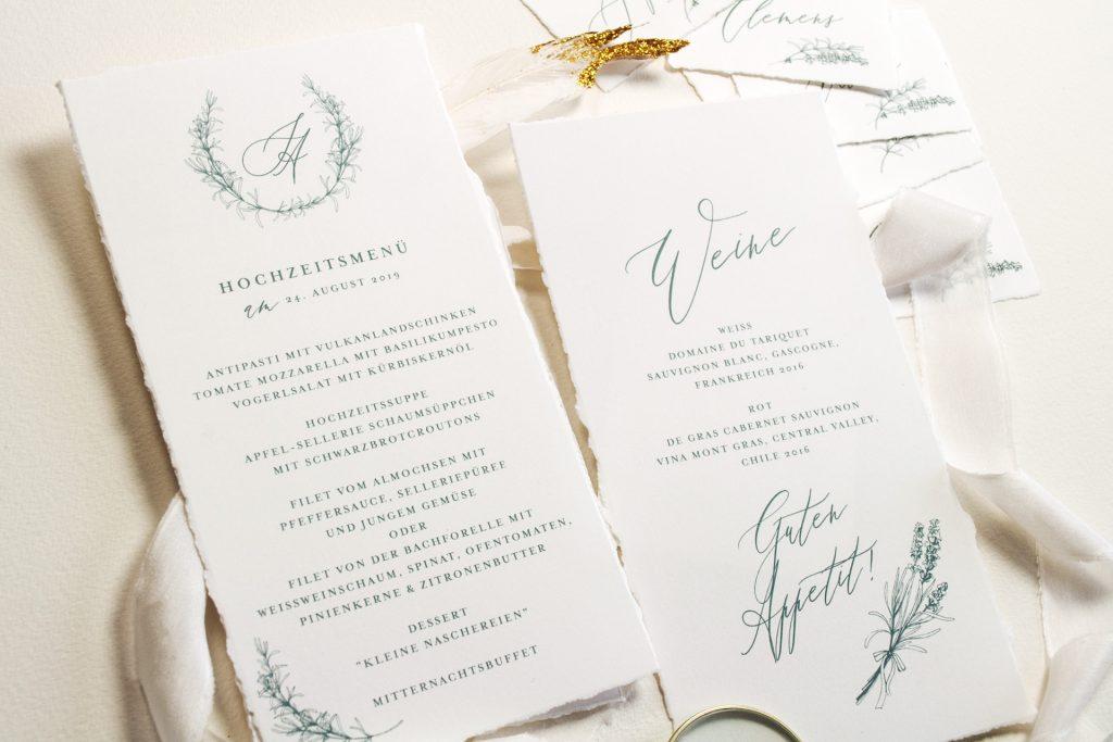 Hochzeitspapeterie Tenderly Menükarten Weinkarte