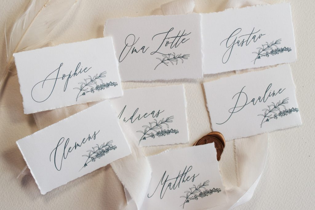Tenderly Platzkarten, Namensschilder von Honeybird.de