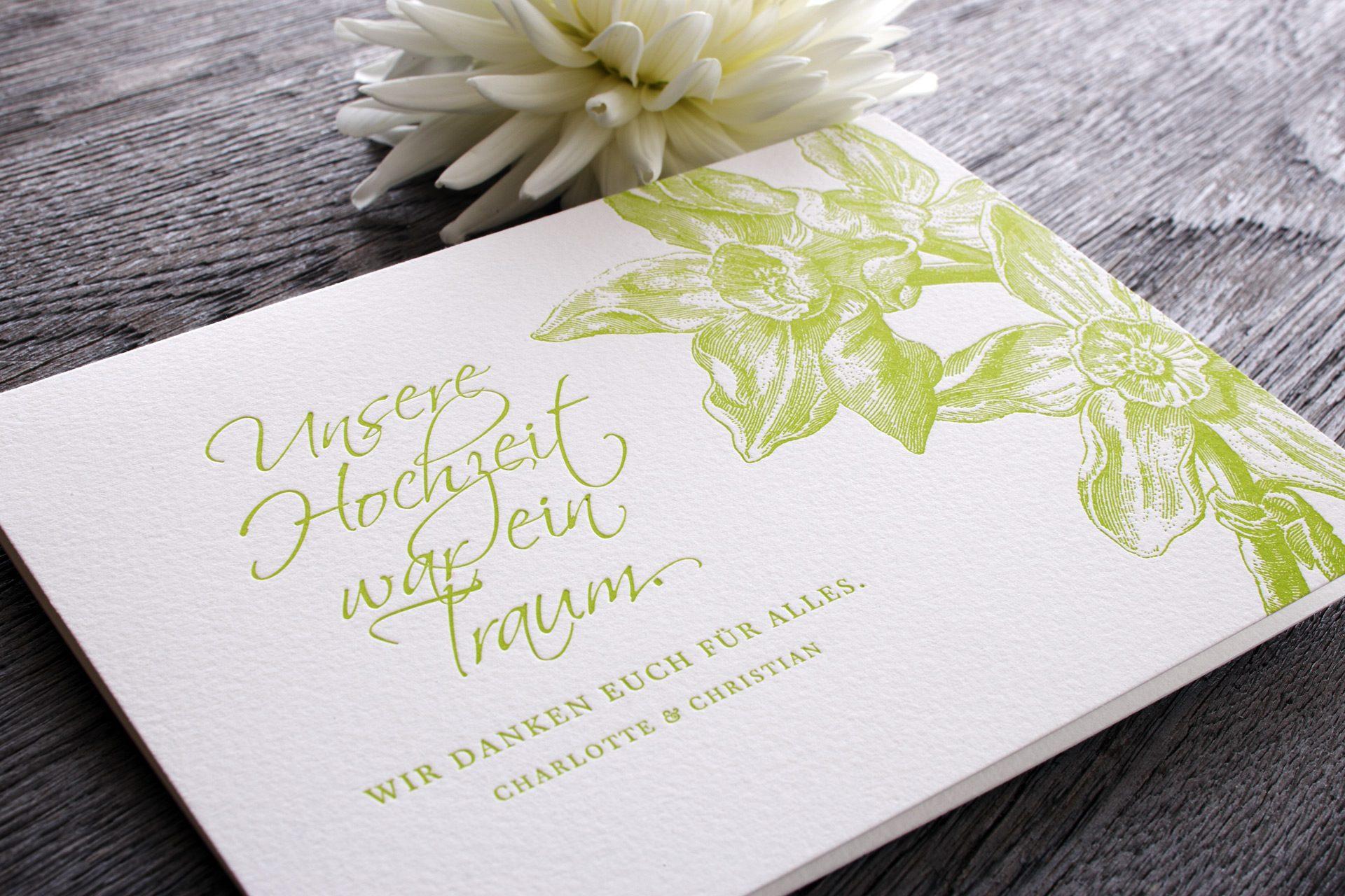 Dankeskart Flowergarden im Letterpress mit Blüten in lemon.