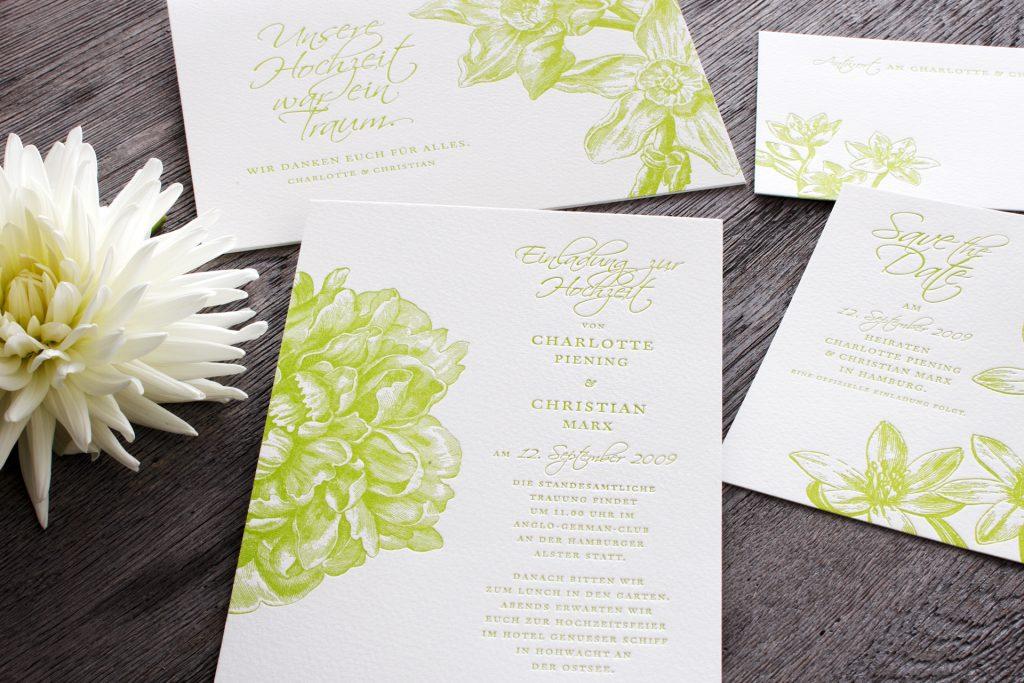 Flowergarden im letterpress - alte florale Illustrationen geprägt, von HONEYBIRD fine Letterpress Cards