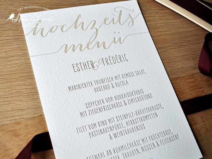 Design Love Always für die Hochzeit Menükarte