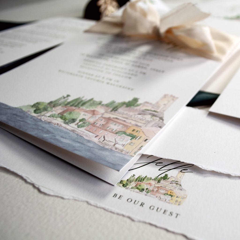 Einladungskarten Lago di Garda für eine Hochzeit in Italien mit individuellem Bild, Aquarell