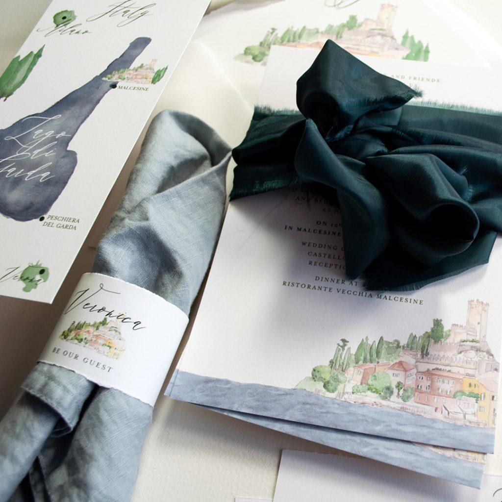 Einladungskartenset Malcesine am  Lago di Garda für eine Hochzeit in Italien mit individuellem Bild, Aquarell