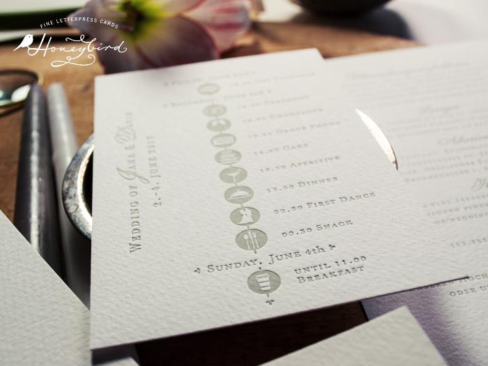 Timeline, Tagesablauf zur Hochzeit – Bestandteil der Kensington Hochzeitseinladungen im Letterpress