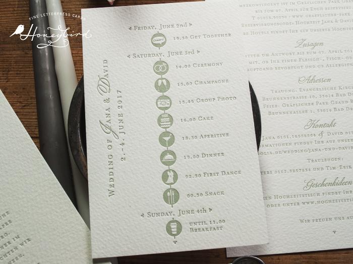 Kensington: Timeline, Hochzeitsprogramm mit Symbolen