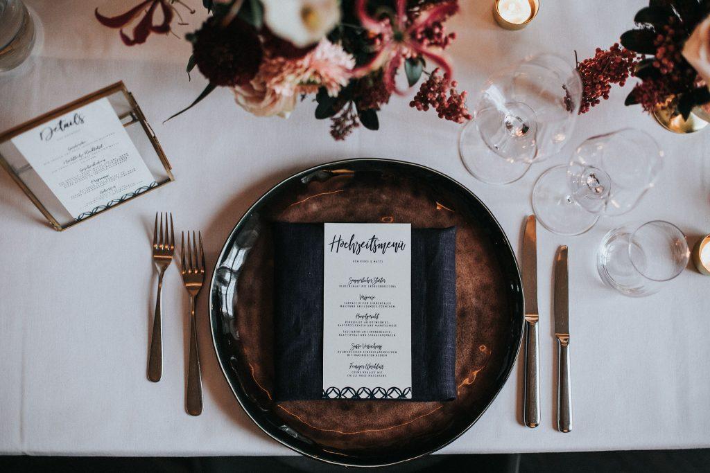Hochzeitsmenü der Designlinie Monterey von Honeybird.