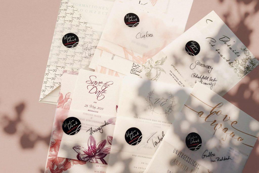 Honeybird Musterkarten zur Hochzeit, Wedding invitation samples, senden Sie uns einfach eine email.