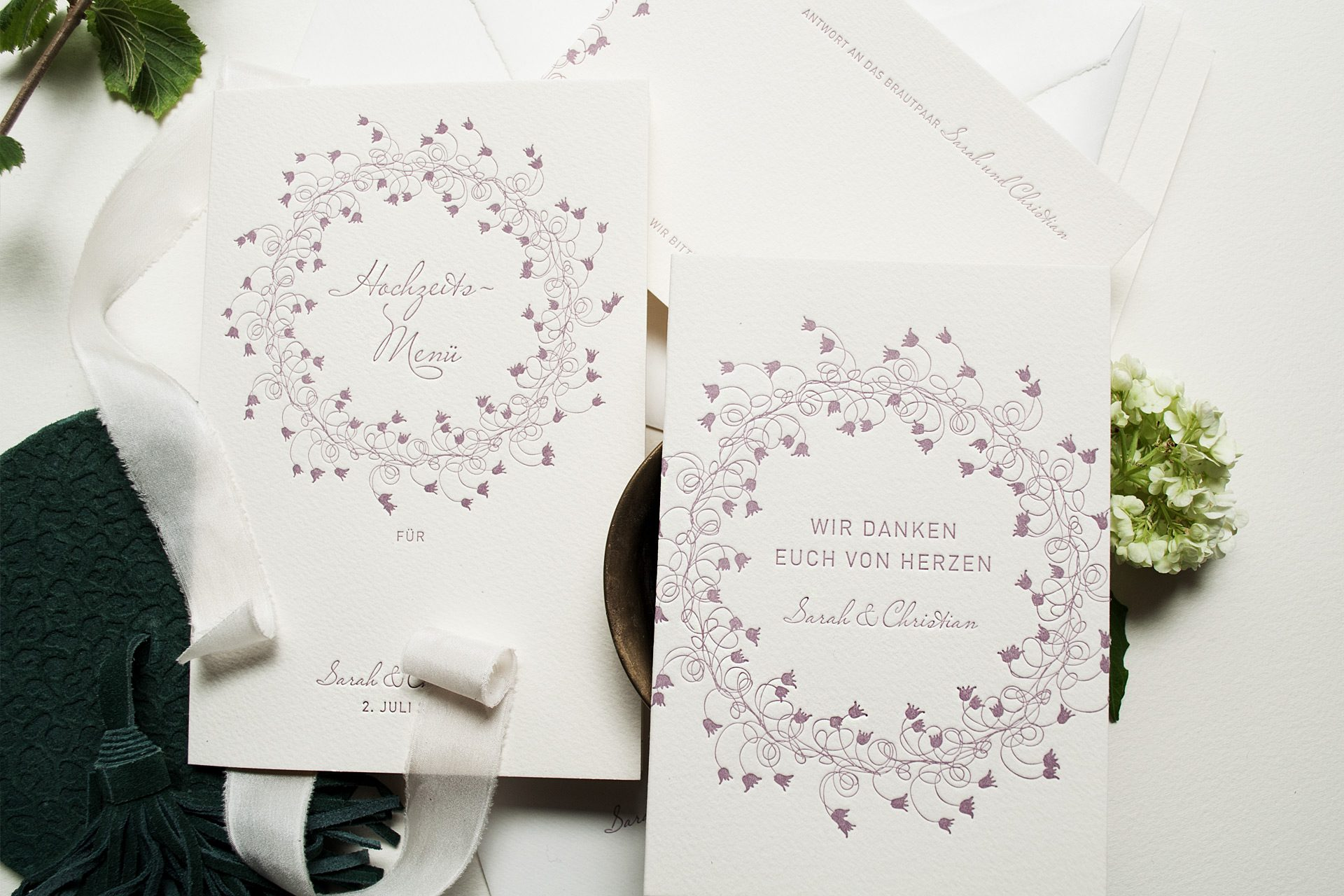 Hochzeitsmenue und Dankeskarte zur Hochzeit im Design Midsommer Letterpress druck auf Büttenpapier in Ivory