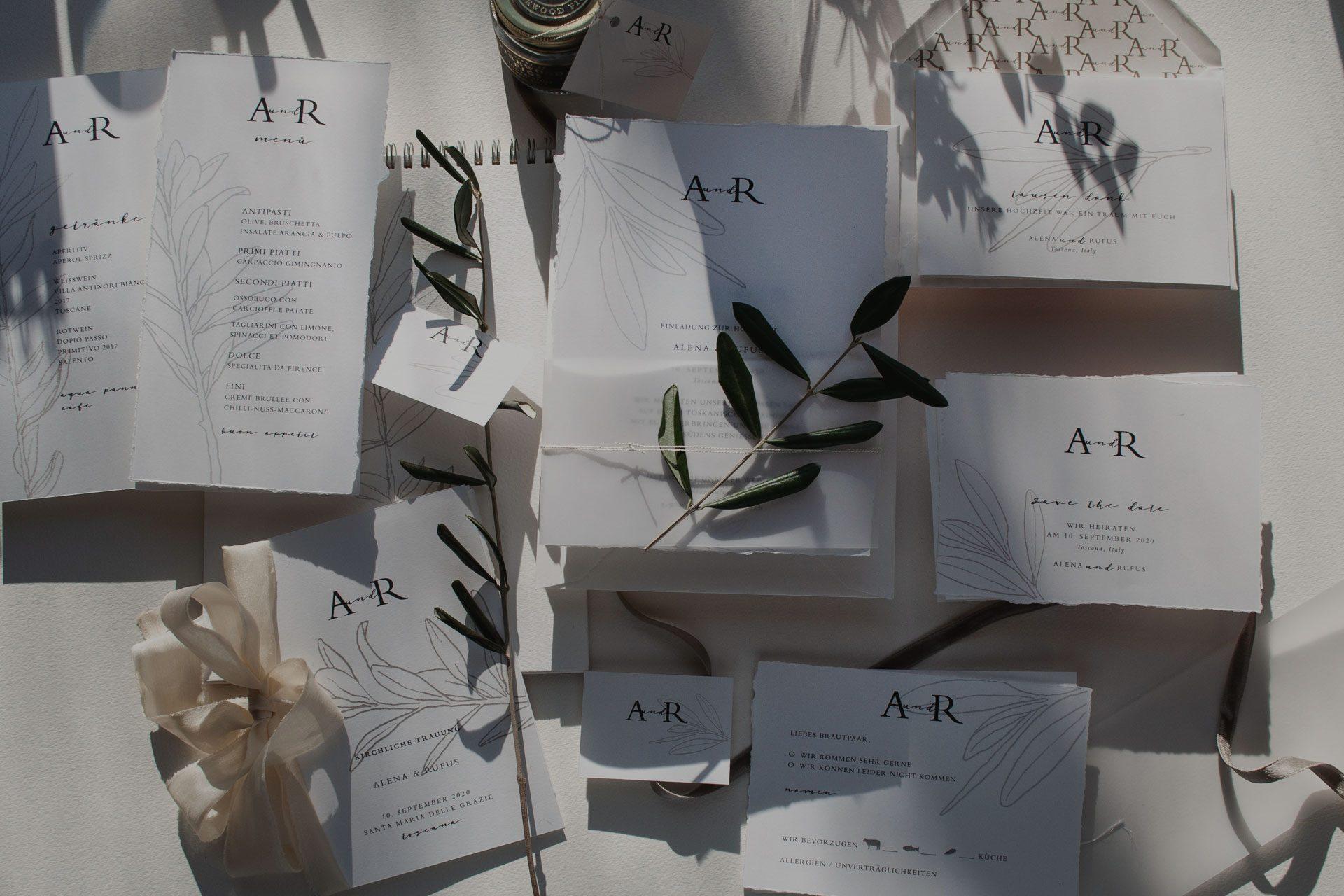 Wedding Invitation set, Oliven und Monogramm für Hochzeitskarten, elegante Papeterie für Ihre destinationwedding