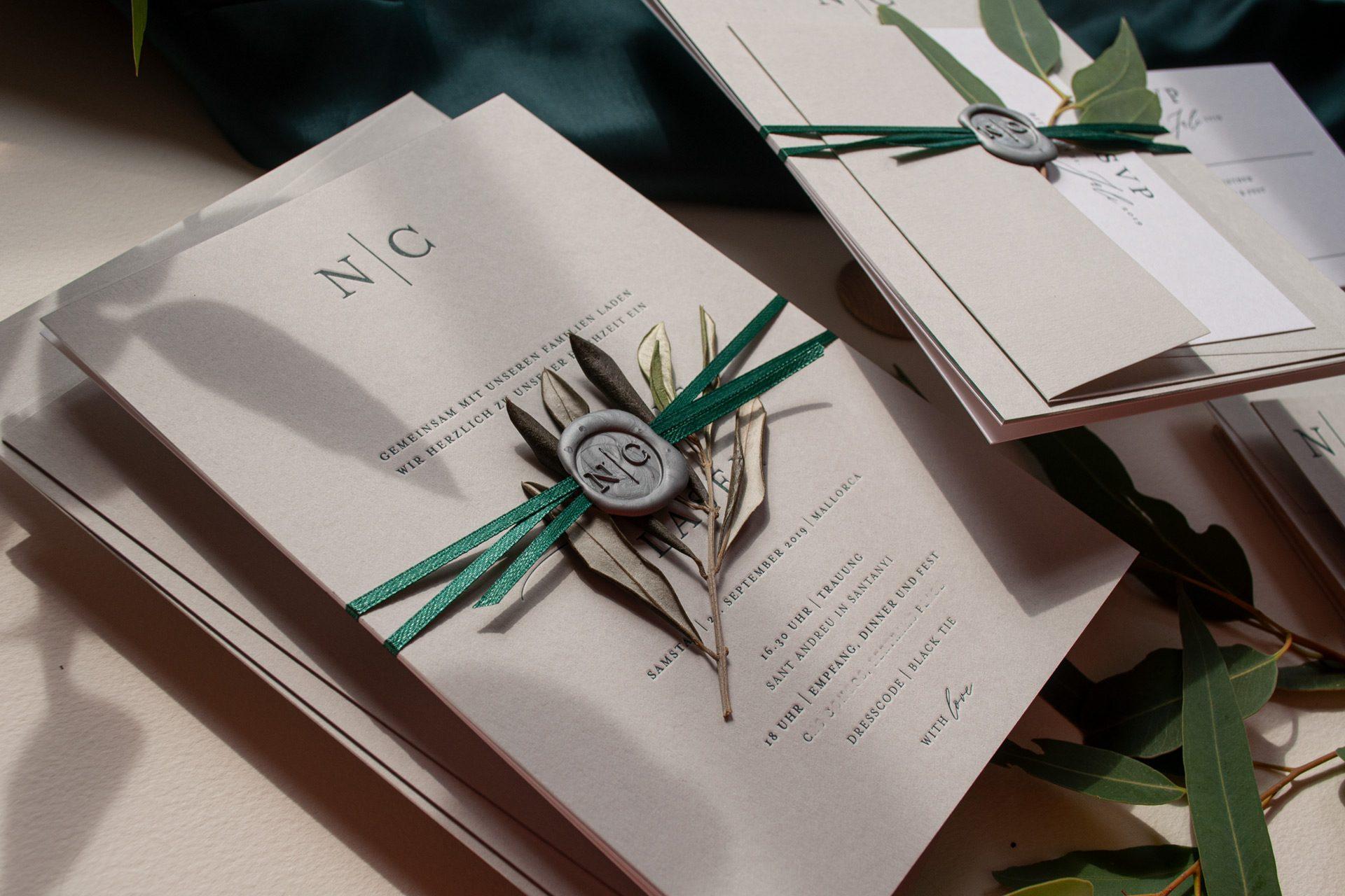 Hochzeitskarten im Letterpress Design Mono