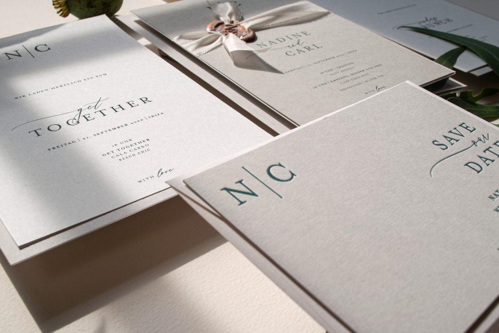 Honeybird Mono Hochzeitskarten Save the Date Karten im Letterpress auf 700g Papier