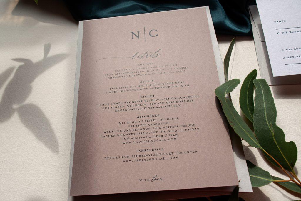 Mono Hochzeitspapeterie Details zur Hochzeit, Hochzeit Informationen von HONEYBIRD