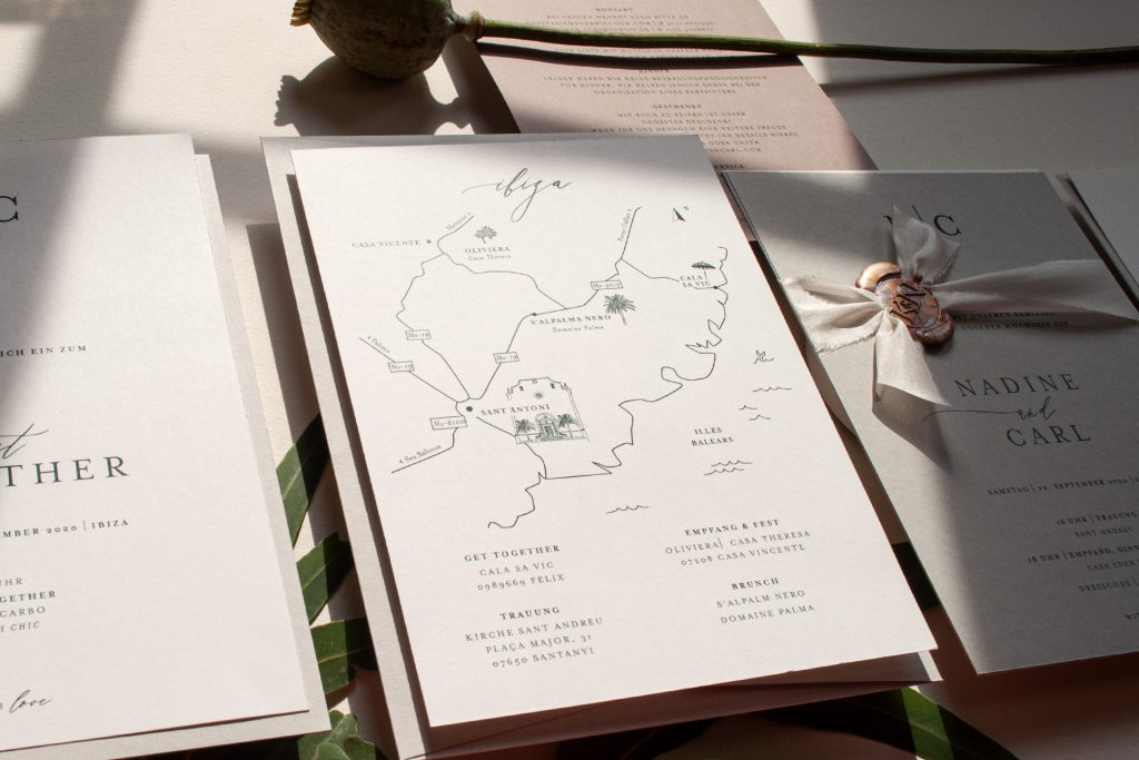 Location Map, Skizze mit Illustration für eure Hochzeitsgäste von HONEYBIRD