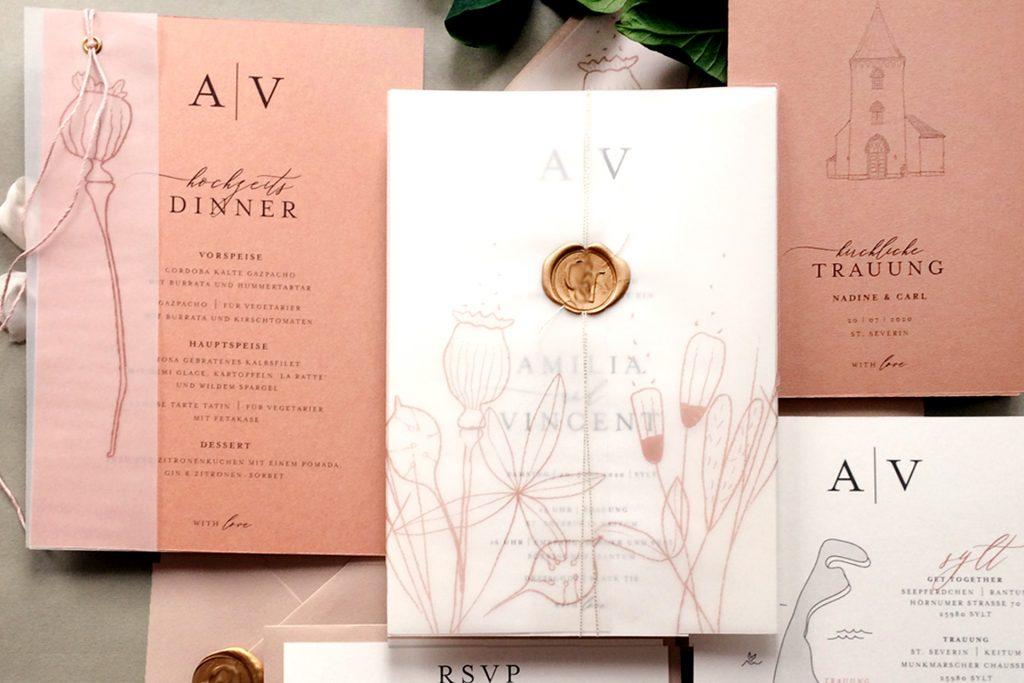 Mono Colors Hochzeitskarten von HONEYBIRD, elegantes Design mit Monogramm mit farbigen Akzenten