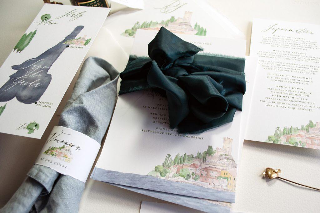 Malcesine, Lago di Garda, Einladung Wedding, Weddinginvitation,