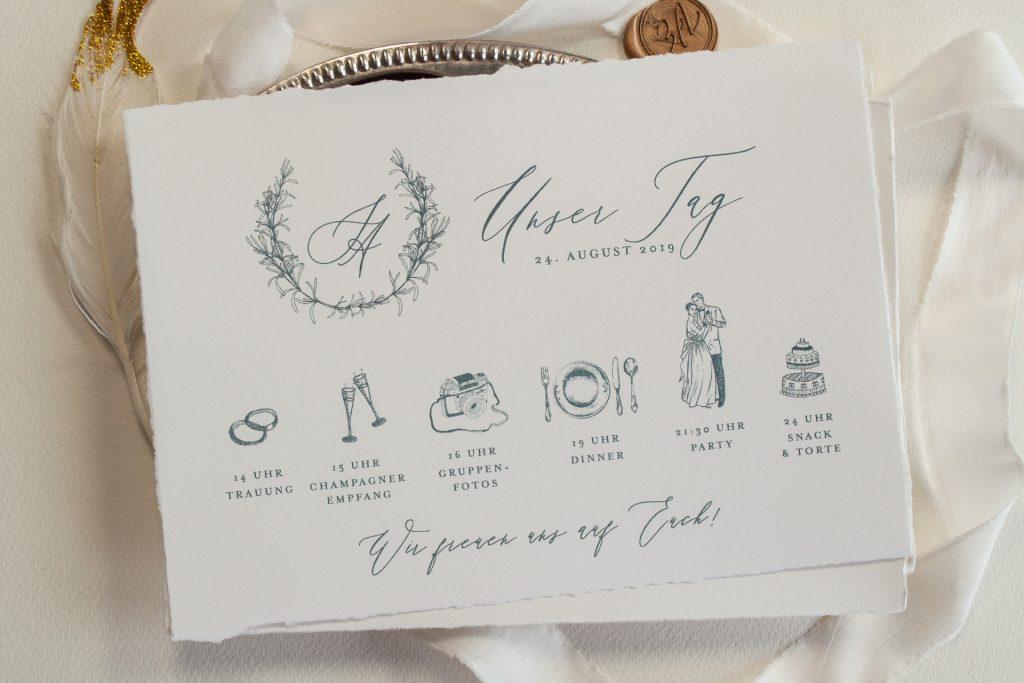 Tenderly Hochzeitskarten Timeline, Ablauf für die Hochzeit, hochzeitsprogramm
