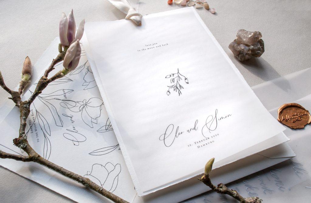 Hochzeitseinladung von HONEYBIRD mit Illustration und Namen, fly me to the Moon, i Love you to the Moon and back