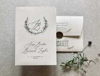 Einladungsposter Tenderly mit Illustration Schloss, bedrucktem Kuvert mit Hochzeits Motiv und Logo